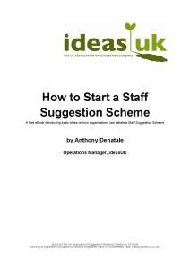 How to Start a Staff Suggestion Scheme - Free eBook cover